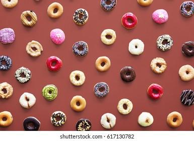 Varieties of donut flavor shot in aerial view