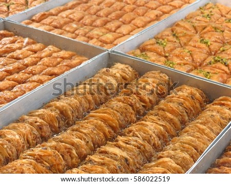 Varieties Handmade Baklava On Glass Display Stock Photo Edit Now