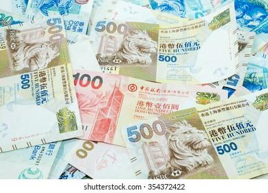 Varieties of Hong Kong Dollars Bank Note, top view