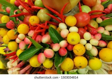 Varieties of vegetables, yellow, red, green