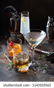 Variety of alcoholic cocktails on dark background