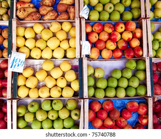 variety of apples and pears, natural background