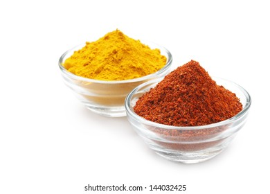 Variety of Authentic Indian Spices on bowl isolated on white background in full-frame.