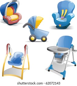 Variety of baby gear icons including baby carrier, car seat, stroller, swing and high chair.