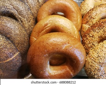 Variety bagels arrange into three loaf. Poppy seed bagel, whole wheat bagel and multigrain bagel picture to decorate the wall or the background of bakery shop.