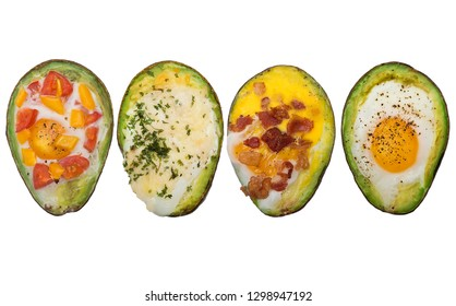 Variety of baked avocado with eggs isolated on white background