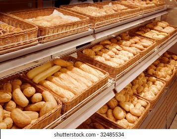 Variety of baked products at a supermarket