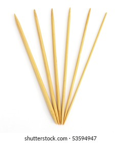 Variety of bamboo knitting needles in different sizes