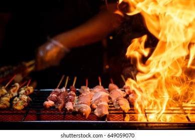 Variety of  Barbecue skewers meat kebabs with vegetables on hot flaming grill