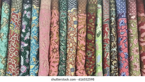 Variety of batik collection display