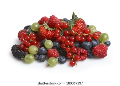 Variety of berries on white background