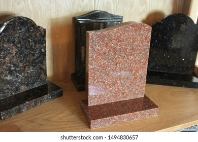 Variety of blank headstones in a funeral directors