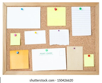 A variety of blank message media pinned to a framed cork noticeboard with different types and colours of pushpins.  Isolated on white background.