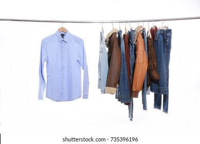Variety of blue shirt,Men's sleeved plaid cotton with jeans .leather coat on hanger
