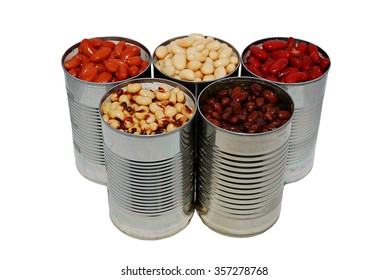 A variety of canned beans on a white background, basic ingredients for chili