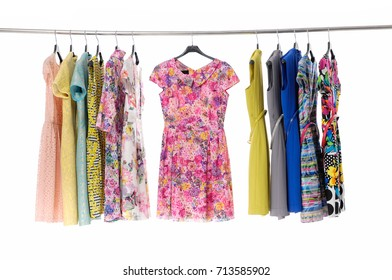 Variety of casual female colorful floral ,sundress clothes hanger