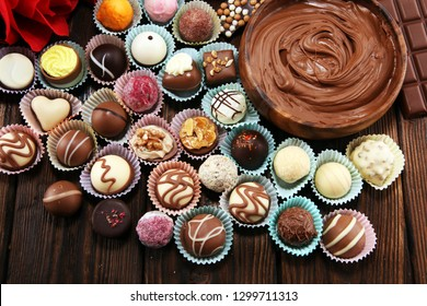 a lot of variety chocolate pralines, belgian confectionery gourmet chocolate for valentines day