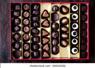 Variety Chocolate pralines in box.