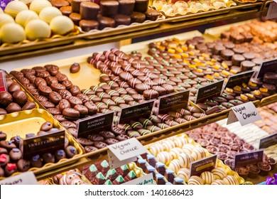 Variety of chocolate pralines at the English Market, Ireland
