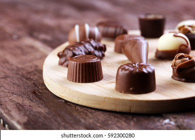 a lot of variety chocolate pralines on table