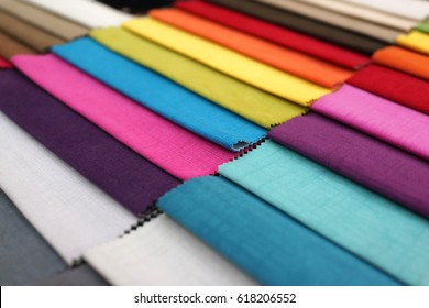 Variety choice of colorful fabric and textile