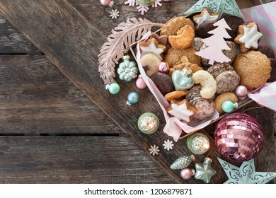Variety of Christmas cookies and festive holidays decorations