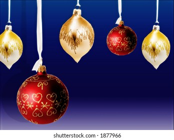 variety of christmas tree balls hanging on ribbon over blue