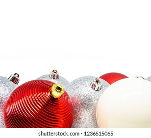 Variety of Christmas tree decoration balls isolated on a white background