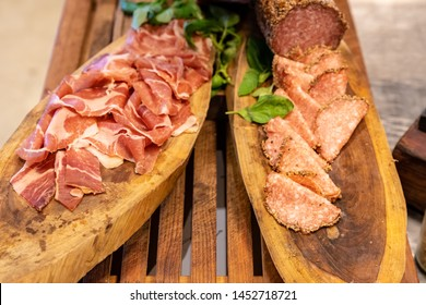 Variety of Cold cut, ham pork beef salami and sausage, for salad station in buffet line