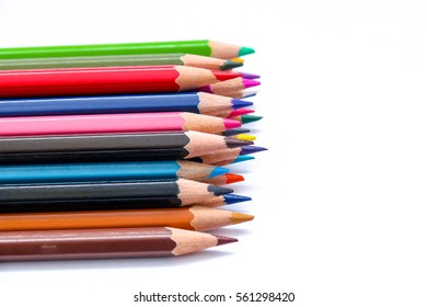 variety of color, color pencil isolated on white background
