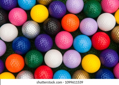 Variety of colorful balls for putt putt or mini golf