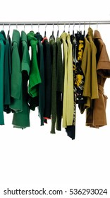 Variety of colorful female clothing on hanging