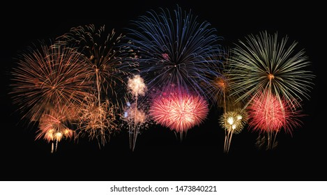 Variety colorful firework in annual festival background