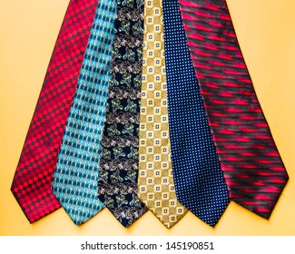 Variety of colorful and printed men's neckties
