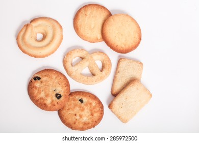 variety of cookies on white background