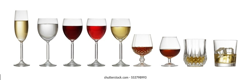 Variety of crystal glasses for wine and spirits isolated on white background, front view