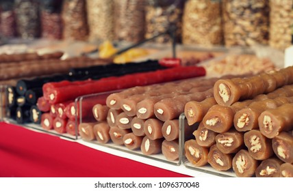 variety of Cyprus sweets, mainly soutzoukos and nuts