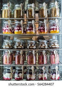 Variety of desserts in the jars,selective focus