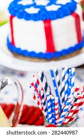 Variety of desserts on the table for July 4th party.