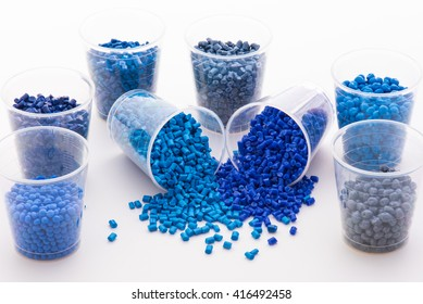 a variety of different colored blue polymer resins on white
