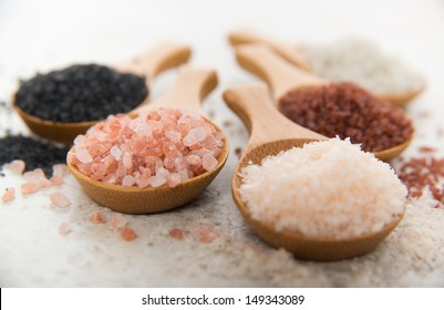 Variety of Different Sea Salts, Black and Red Hawaiian, Gray Celtic, Pink Himalayan, Flaky Murray River Australian