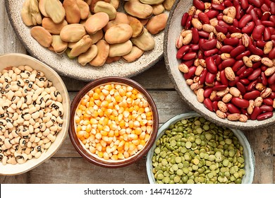 Variety of different types of legumes and maize