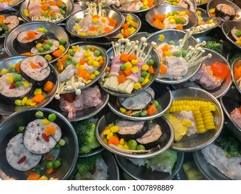 Variety Dim sum or Yumcha food in bamboo steam  chinese food cuisine background