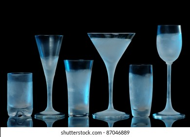 Variety of drinking glasses, frosted and ready to use