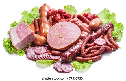 Variety of dry cured sausage products and meat.