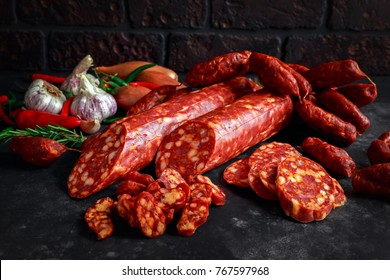 Variety of dry cured Spanish pork chorizo sausages made with paprika and garlic