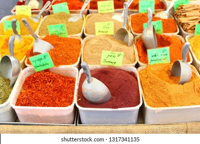 Variety of exotic spices with names in Hebrew and English, Carmel market Tel Aviv, Israel