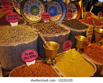 Variety of exotic spices in a turkish market