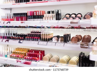 Variety of  fashionable, diverse, colorful assortment of modern cosmetics store