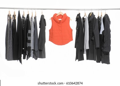 Variety of female clothing hanging on hangers